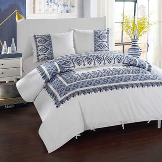 LUX-BED 3 Piece Sarita Garden Aztec Ribbon Embroidered Duvet Cover Set