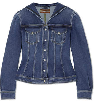 ALEXACHUNG Ric Rac-trimmed Denim Jacket - Blue