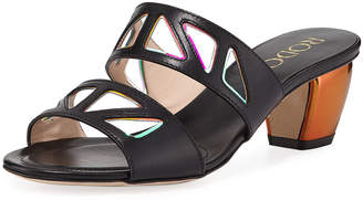 Rodo Iridescent Cutout Slide Sandals