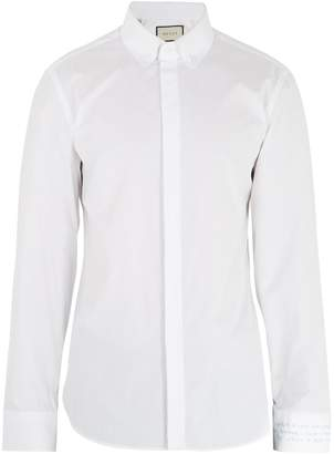 Gucci Text-embroidered single-cuff cotton-poplin shirt