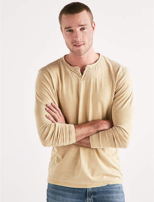 Lucky Brand VENICE BURNOUT NOTCH RINGER LONG SLEEVE TEE