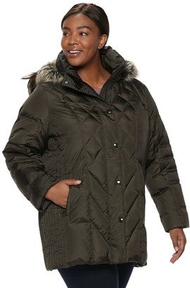 London Fog Tower By Plus Size TOWER by Hooded Faux-Fur Down Puffer Coat