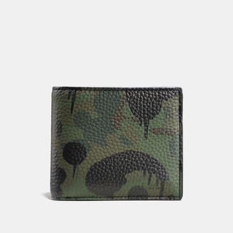 COACH Coach Compact Id Wallet In Wild Beast Camo Print Pebble Leather $195 thestylecure.com