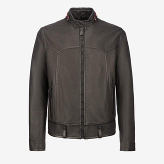 Bally Nappa Café Racer Biker Jacket Black, Men's calf nappa biker jacket in black