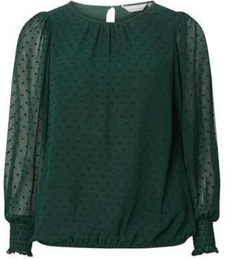Dorothy Perkins Womens Petite Green Shirred Cuff Blouse