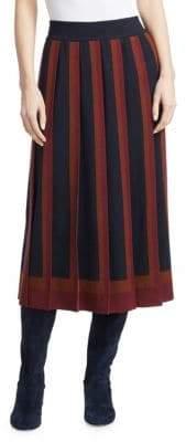 Loro Piana Women's Pleated Stripe Cashmere Midi Skirt - Fancy Blue - Size 48 (12)