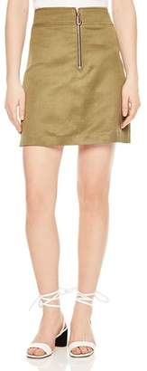 Sandro Erman Metallic Zip-Detail Skirt