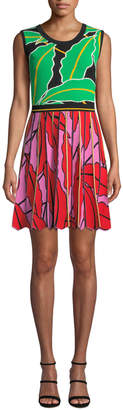 Diane von Furstenberg Parker Pleated Leaf-Print Short Dress