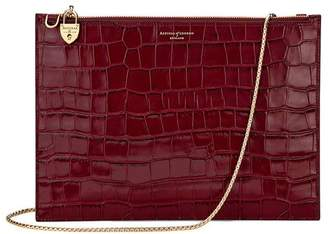 Aspinal of London Soho Double Sided Clutch In Deep Shine Bordeaux Croc