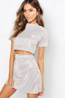 boohoo Petite Sparkle High Neck Crop Top