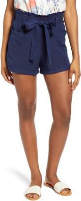 Lucky Brand Paperbag Waist Linen Blend Shorts