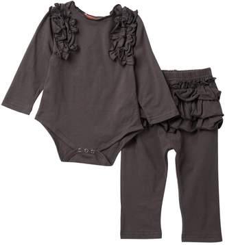 Funkyberry Ruffled Long Sleeve Bodysuit Set (Baby Girls)