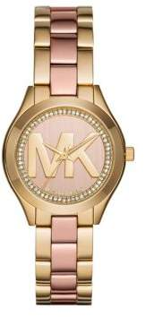 Michael Kors Mini Slim Runway Two-Tone Stainless Steel Three-Hand Bracelet Watch
