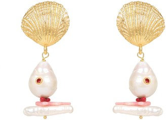 Latelita Scallop Shell Baroque Pearl Coral Earring Gold