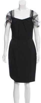 Lela Rose Mesh-Accented Sweetheart Dress