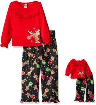Dollie & Me Big Girls' Reindeer and Ornament Sleepwear Set