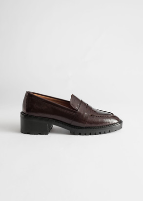 And other stories Croc Embossed Block Heel Loafers