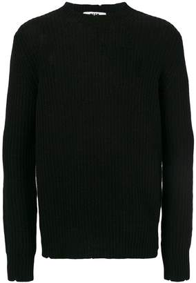 MSGM frayed detail ribbed jumper
