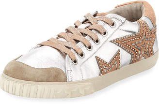 Ash Mixed Leather Stars Sneakers