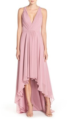 Women's Monique Lhuillier Bridesmaids Deep V-Neck Chiffon High/low Gown $298 thestylecure.com
