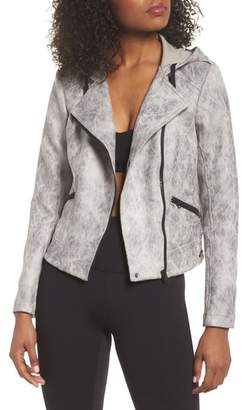 Blanc Noir Hooded Faux Leather Moto Jacket