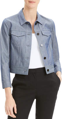 Theory Cropped Button-Front Denim Jacket