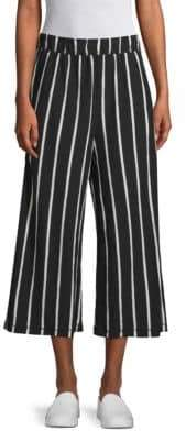 Eileen Fisher Women's Striped Wide Leg Capri Pants - Black White - Size XS