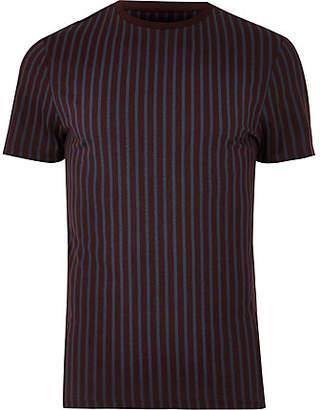 River Island Dark red muscle fit vertical stripe T-shirt