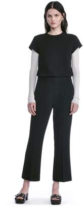 Alexander Wang Drape Poly Twill Front Pleat Cropped Trousers