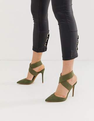 Asos Design DESIGN Payback elastic high heels in khaki