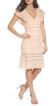 Foxiedox Makayla Flutter Trim Lace Sheath Dress