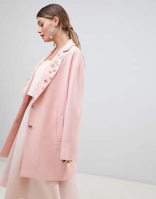 Asos Design DESIGN Embellished Collar Coat