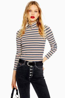 Topshop Multi Stripe Funnel Neck Top