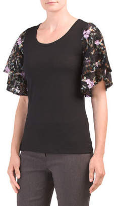 Short Sleeve Top With Lace Sleeves