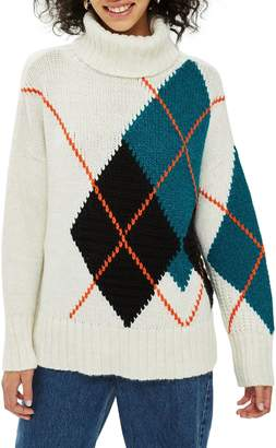 Topshop Oversized Argyle Turtleneck Sweater
