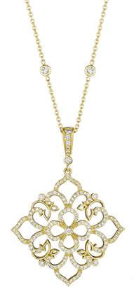 Penny Preville 18k Large Square Diamond-Lace Pendant Necklace