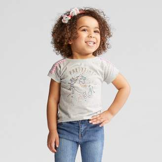 Cat & Jack Toddler Girls' Party Time Cap Sleeve T-Shirt Heather Gray