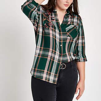 River Island Womens Plus Green check embellished shirt