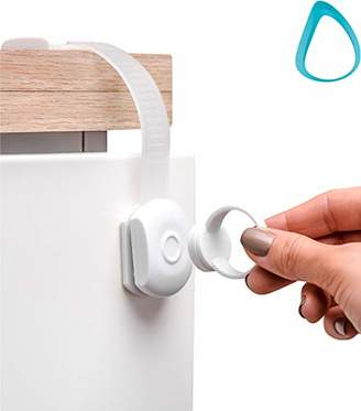 URBAN RESEARCH Magnetic Cabinet Locks Child Safety | NO Drill | Baby Proofing Drawer Fridge Oven Toilet and Appliance | Adjustable Strap and Latch System | Childproof Kitchen Cabinets | Baby Proof | 4 +1 Key