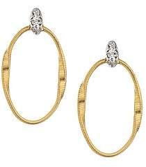 Marco Bicego Women's Marrakech Onde 18K Yellow Gold & Diamond Coil Oval Hoop Earrings