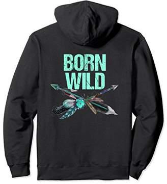 Born Wild Boho Native Arrows Teal Feathers BACK PRINT Hoodie