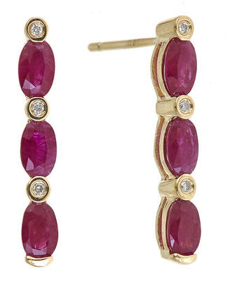 FINE JEWELRY LIMITED QUANTITIES Lead Glass-Filled Ruby and Diamond-Accent Linear Earrings