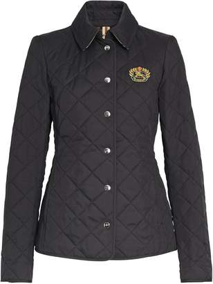 Burberry embroidered crest diamond quilted jacket