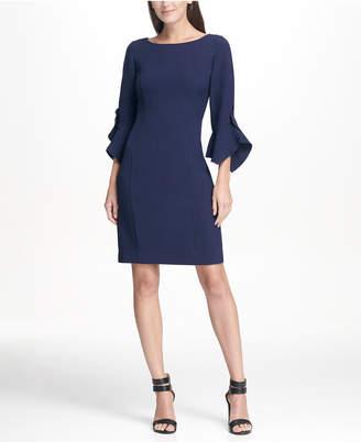 DKNY Ruffle Detail Sleeve Sheath Dress