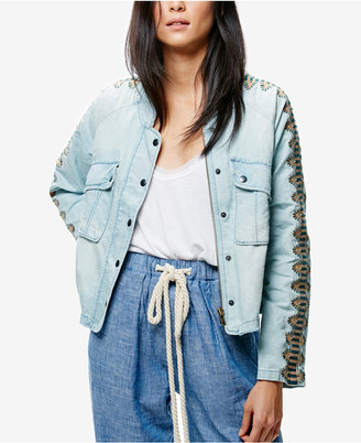 Free People Embroidered-Sleeve Denim Jacket $168 thestylecure.com