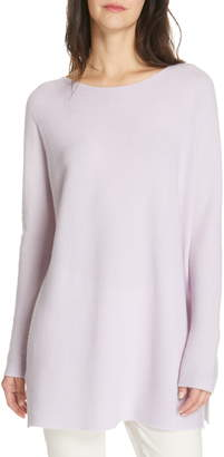 Eileen Fisher Bateau Neck Cashmere Tunic Sweater