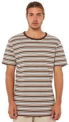 rhythm New Men's Everyday Stripe Mens Tee Crew Neck Short Sleeve Cotton Brown