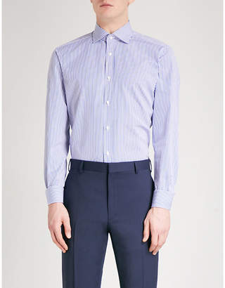 Ralph Lauren Purple Label Aston striped regular-fit cotton-blend shirt