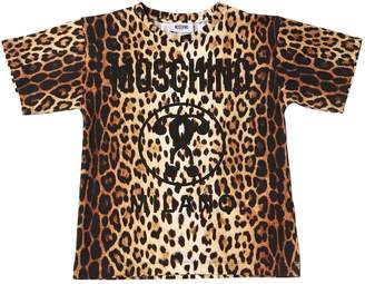 Moschino Leopard Print Cotton Jersey T-Shirt