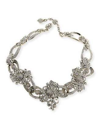 Jose & Maria Barrera Crystal Ribbon Collar Necklace